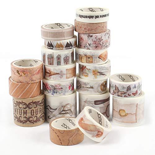 HAKACC Washi Tape vintage, 20 rotoli di nastro adesivo decorativo per fai da te, fai da te, per album di ritagli, carta di credito, regalo