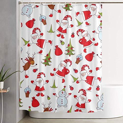 PbbrTK Personalisierter Duschvorhang,nahtloses Weihnachtsmuster,wasserabweisender Badvorhang für das Badezimmer 180 x 180 cm