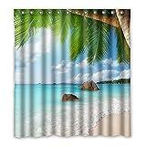Once Young–Charming Seascape Scenery Duschvorhang Polyester Badezimmer Wasserdicht Decor 167,6x 182,9cm (167cm x 183cm), Polyester, L, 168 x 183 cm