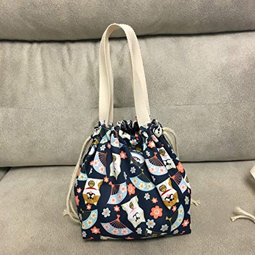 weichuang Bolsa de almuerzo de estilo japonés, bonita bolsa de lona, bolsa de lona, con cordón, portátil, bolsa de arroz, bolsa de almuerzo (color: perro ventilador)