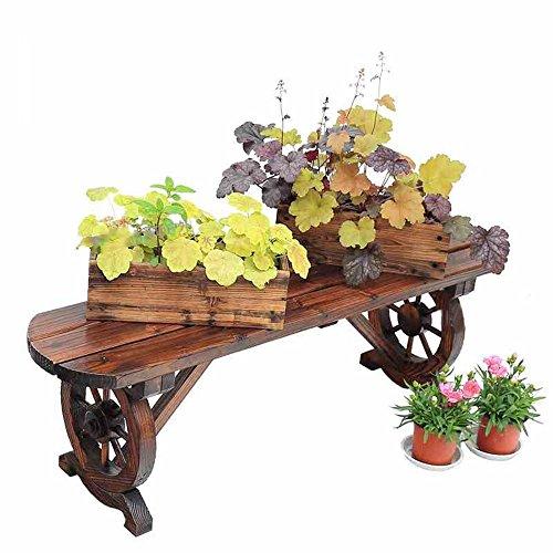XIAOLIN- Bois carbonisé et bois massif Balcon Salon intérieur Simple banc bancs de fleurs Bancs de bois en plein air -Cadre de finition de fleurs (taille : 140 * 38cm)