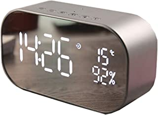 Wireless Bluetooth Speaker, LED Alarm Clock with FM Radio Mirror Display Support Aux TF USB Music Player Wireless for Office Home,Silver