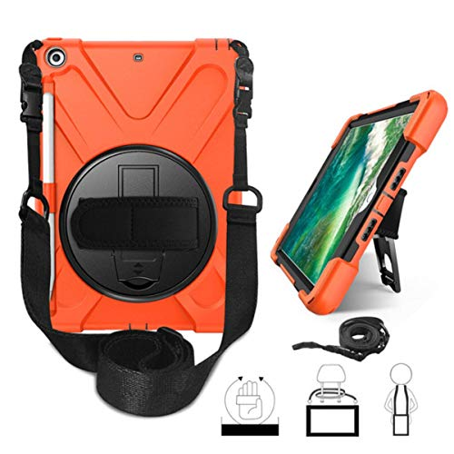 Case for iPad 9.7 inch 6th Generation 2018 2017 Cover Pencil Holder for iPad 9.7 A1893 Kid Safe Shockproof Armor Cover+Glass+Pen,Orange