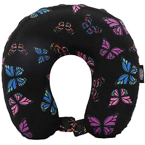 Frenzy Viajes Almohada cómodo Soporte para el Cuello Suave Memoria Foam (Mariposas Negro)