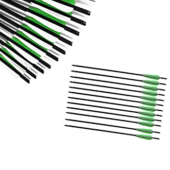 JY-Sports Crossbow Bolts 16   Inch Archery Hunting Arrow Game Arrow Shaft and Target Arrow Shaft Replaceable Tips for Crossbow 12Pcs/Box  Green-Fletching