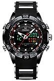 Youwen Watch Men's Sports Watch LED Digital and Quartz Analog Dual Movement Men's Watch Chronograph Military Watch Waterproof Men's Black Watch