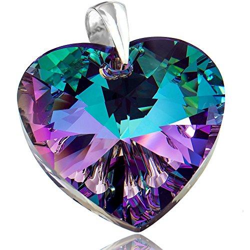 Großer Anhänger mit Swarovski-Kristallen, Vitrail Herz, 925er Sterlingsilber