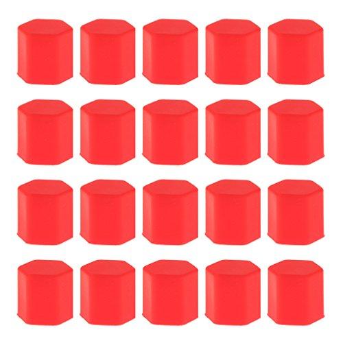 Paquet De 20 Voiture Pneu De La Roue à Vis Couvercle De Protection Du Boulon Bouchon écrou Lug 17mm Rouge