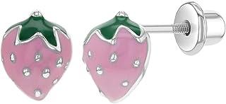 925 Sterling Silver Enamel Strawberry Fruit Earrings with Screw Backs for Girls Kids