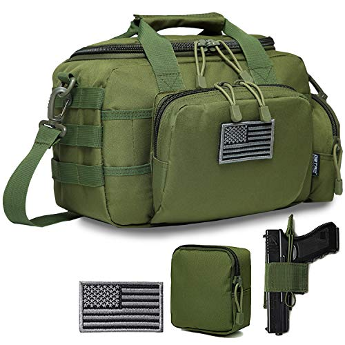 DBTAC Gun Range Bag Small | Tactical 2X Pistol Shooting Range Duffle Bag with Lockable Zipper for Handguns and Ammo | US Flag Patch + MOLLE Pouch + Universal Holster Included (OD Green)
