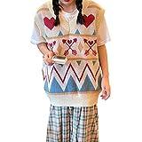 Y2k - Chaleco de punto suelto para mujer, cuello en V, sin mangas, estilo preppy, camiseta sin mangas, estilo callejero, c, L