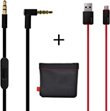 Original OEM Replacement AUX Audio Cable Cord For Beats By Dre Headphones Solo/Studio/Pro/Detox/Wireless/Mixr Black(Discontinued by Manufacturer)+Replacement Charger cable for Beats by Dr Dre and Pill