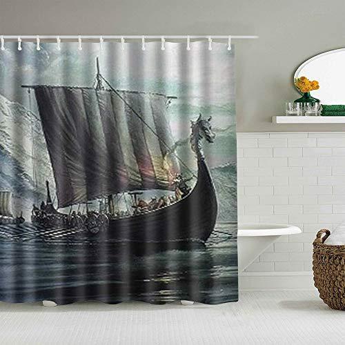 Marutuki Duschvorhang,Weinlese-Wikinger-Drachenkopf-Schiffshintergrund,personalisierte Deko Badezimmer Vorhang,mit Haken,180 * 180