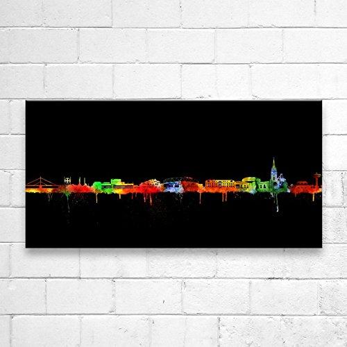 Kunstbruder Leverkusen Skyline - Neon (div. Größen) - Kunst Druck auf Leinwand 40x100cm