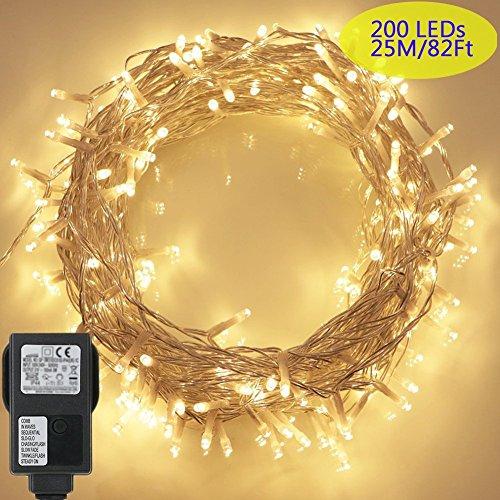 200 LED Lichterkette, Tomshine 23M Lange Lichterkette Steckdose für Innen und Außen, Strombetrieben mit EU Stecker, IP44 Wasserdicht, 8 Modi Dimmbar, Warmweiß Lichterkette für Party, Beleuchtungdeko