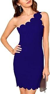 40900592dfc Hwaikun Women s Sexy Elegant One-Shoulder Sleeveless Wrap Bodycon Mini Slim  Short Dress