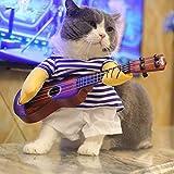 AILOVA Divertidos mascotas cambian lindos trajes de guitarra para perros gatos fresco disfraz de Halloween ropa de mascota abrigos de gato chaquetas regalos para mascotas (L)