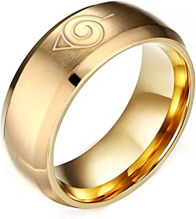 Budazo Herren Schmuck Titan Stahl Anime Naruto Symbol Ringe
