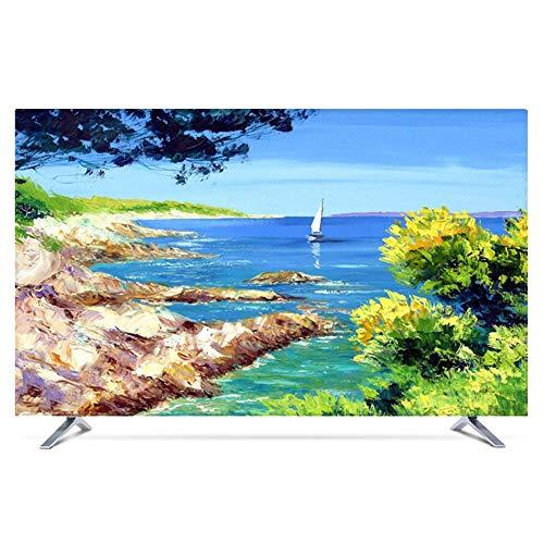 Ting Ting Cubiertas Protectoras Cubierta De Polvo De TV LCD TV Decoración De La Computadora Cubierta Tela Antideslizante Tingting-Funda para Monitor (Color : Riverside, Size : 43inch)