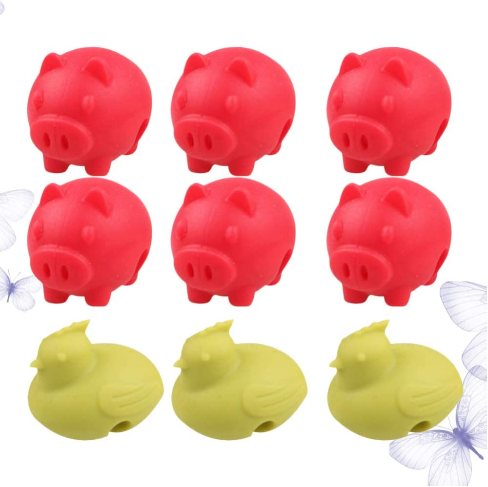 UPKOCH 9pcs Spill Proof Lid Lifter Chick Pig Pot Lid Holder Keep The Lid Open Silicone Lid Lifters Cooking Helper Kitchen Gadgets Random Color