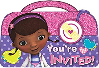 Doc McStuffins Birthday Party Invitations Cards Supply (8 Pack), Pink/Purple, 4 1/4