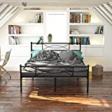 Simlife Sturdy Full Bed Frame Steel Slat Support Iron Stable Beds for Adults Kids Headboard and Footboard 10 Legs Box Spring Replacement Black