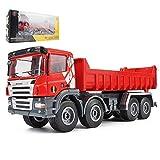 Xolye 01:50 Dumper Modello al Cantiere Simulazione Veicoli Giocattolo in Lega di Tirare Indietro Boy Dump Truck Toy Metallo Camion Veicolo for Costruzioni