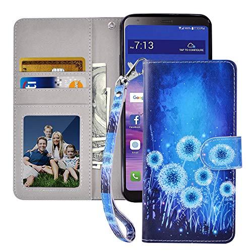 MagicSky LG Stylo 4 Hülle, LG Stylo 4 Plus Wallet Hülle, LG Q Stylus Premium PU Leder Flip Folio Handyhülle mit Handschlaufe, Kartenhalter, Bargeldfach, Ständer für LG Stylus 4, Löwenzahn