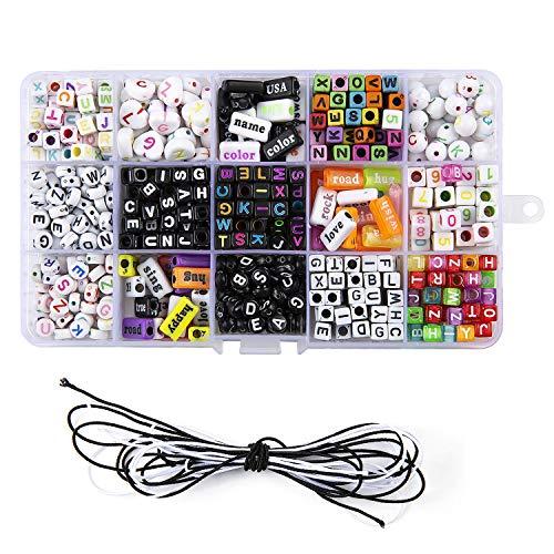 ZWOOS DIY Armband Buchstaben Perlen, 750 StückKinder DIY Armbänder Selber Machen Schmuck Schnurset, Geburtstagsgeschenk für Schmuck Machen, Armbänder, Halsketten, Schlüsselanhänger