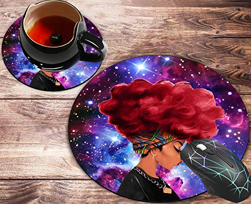 Round Mouse Pad and Coasters Set, Galaxy Red Starry Sky African American Red Hair Girl Mousepad, Anti Slip Rubber Round Mousepads Desktop Notebook Mouse Mat for Working and Gaming