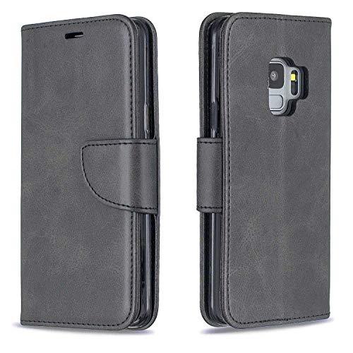 GIMTON Hülle für Galaxy S9, Kratzfestes PU Leder mit Magnetisch Verschluss und Kartenfach für Samsung Galaxy S9, Hochwertige Brieftasche Tasche, Schwarz