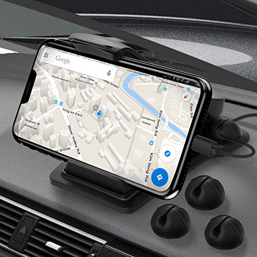 Cellphone Holder for Car, Anti-Slip Car Mount, Car Dashboard GPS Holder with Cord Organizer, Compatible with iPhone X/XS/8P/8/7P/7/6S Plus, Galaxy S10e/S9/S8 and 3.5-6 Smart Phones or GPS Devices