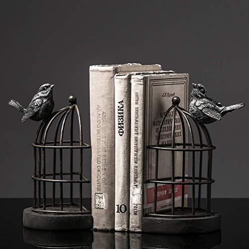 XCJJ Jaula de pájaros de hierro forjado europeo Libro por libro Sujetalibros Hogar Decoración suave Sala de libros Decoración de oficina Adornos 11X8.5X16Cm Estantería