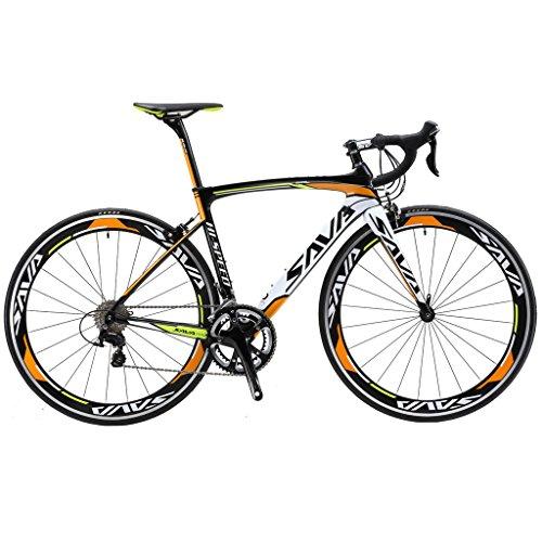 Sava Bici da Strada 700C Fibra Di Carbonio SHIMANO 5800 22 Vitesses Système Bicicletta Ultralight (54cm, arancione)