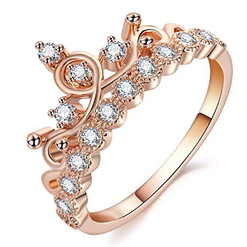NAOZHONGa Damesringen Mode Kroon Ring Verklaring Vrouwen Bruiloft Zirkoon Engagement Ring Trend Rose Goud Zilver Kleur Romantische Party Gift