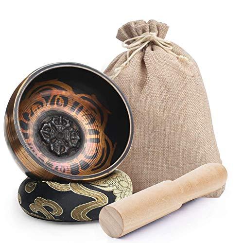 Koogel - Set campana tibetana tibetana, 8 cm, per terapia sonora con martelletto e cuscino per rilassarsi, per ridurre l'ansia, yoga