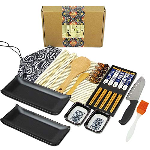 Artcome 22 Pieces Sushi Making Kit with Sushi Bazooka, Sushi Knife, Bamboo Sushi Mats, Sushi Plates, Sauce Dishes, Chopsticks, Chopsticks Holders, Tableware Bag, Silicone Brush, Paddle, Spreader