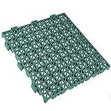 Pack 12 losetas ventiladas antihumedad de PVC reforzadas para suelos de garajes - 33x33x2cm (Verde)