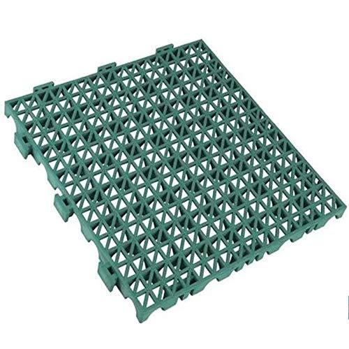 Pack de 4 losetas ventiladas antihumedad de PVC reforzadas para suelos de garajes - 33x33x2cm (Verde)