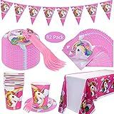 DreamJing - Piatto da portata per compleanno, motivo: unicorno, per 20 persone