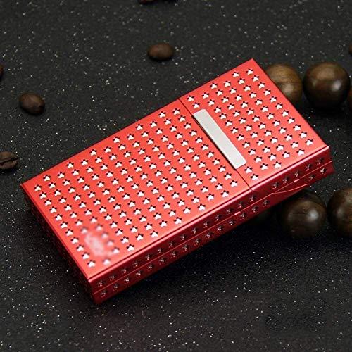 Silber Zigarettenetui Aluminium Etui Frauen höhlen Design Magnet Saug-Flip Metall Zigarettenschachtel kann Feine Beherbergungs Zigaretten 20 Metallzigarettenetui. ( Color : Red , Size : 106X60X16MM )