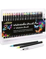 VACNITE 水彩毛筆 カラー筆ペン 24色セット 水性筆ペン 水彩ペン 絵描き 塗り絵 アートマーカー 美術用 事務用 画材 子供用画材 収納ケース付き
