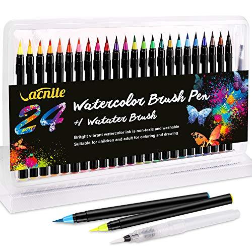 VACNITE 水彩毛筆 カラー筆ペン 24色セット 水性筆ペン 水彩ペン 絵描き 塗り絵 アートマーカー 美術用 事...