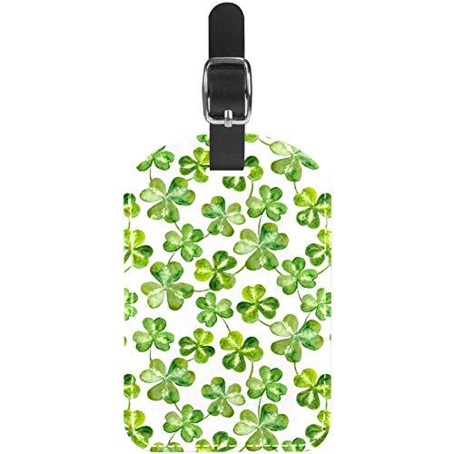 Gepäckanhänger aus Leder mit Kleeblattblättern für Patrick Day Tasche, Reise, Ausweis, Koffer-Etiketten, 1 Stück
