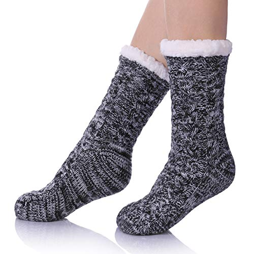 SDBING Women's Super Soft Warm Cozy Fuzzy Fleece-lined Winter Slipper Socks