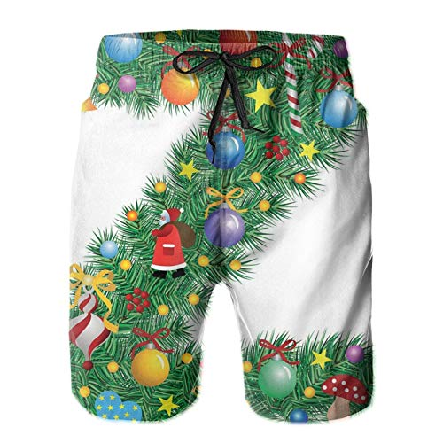 FULIYA Mens Board Shorts XL Traditional Themed Font Design Z with Colorful Ornaments Christmas Santa Claus Breathable Mesh Lining Quick Dry
