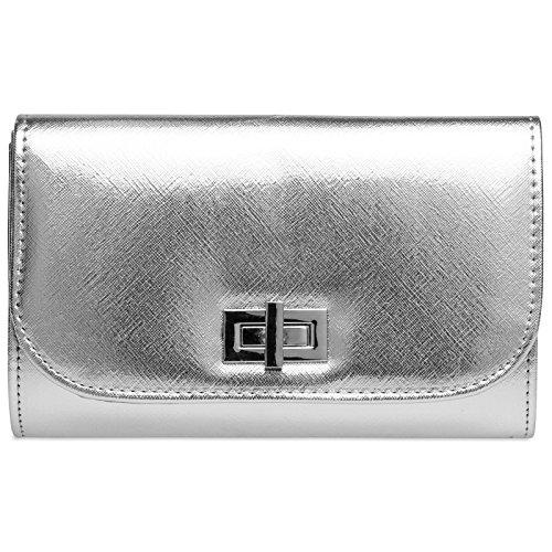 Caspar TA389 elegante Damen Clutch Tasche Abendtasche mit langer Kette, Farbe:silber, Größe:One Size