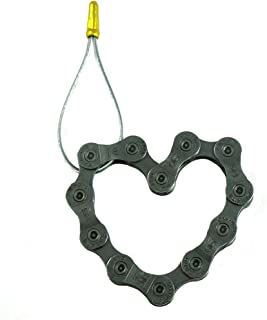 Hand-Made Ornaments of Real Bicycle Chain Outdoor Sport Key Chain Pendant Bag Ornament Vintage Bicycle Pendant Necklace Silver Heart