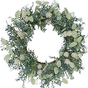 Bibelot 20 Inch Green Leaves Wreath Spring Summer Wreath Artificial Baby's Breath Flower Wreath Farmhouse Decor for Front Door Wedding Wall Home Decor