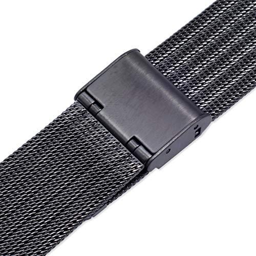 YGGFA Correa de reloj de metal milanés de 12 mm, 14 mm, 16 mm, 18 mm, 20 mm, 22 mm, oro rosa, negro, plata, ultrafina, acero inoxidable, color de la correa: 20 mm